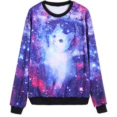 Are you serius? I mean realy? :P Galaxy Cat Print Sweatshirt and like OMG! get some yourself some pawtastic adorable cat apparel! Ärmelloser Mantel, Style Kawaii, Galaxy Outfit, Galaxy Hoodie, Galaxy Cat, Jupe Short, Galaxy Fashion, Cool Outfits, Fashion Outfits