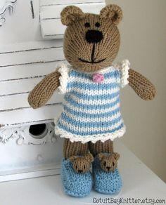 Hand Knit Teddy Bear Stuffed Animal by CotuitBayKnitter.etsy.com