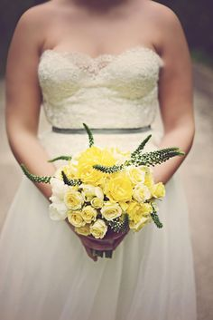 yellow and green bouquet, photo by Stephie Hicks http://ruffledblog.com/the-notwedding-savannah #flowers #weddingbouquet #roses