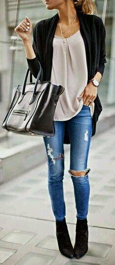 Black Cardigan, Khaki Blouse, Jeans & Black Boots n Bag