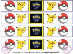 Pokemon GO water bottle labels from Pokemon GO Birthday Printables at Mandy's Party Printables. See more at mandyspartyprintables.com!