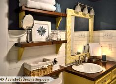 Great idea for a modern and eclectic bathroom rehab. Check out the dramatic before and after here.