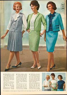 Blue Suit inspiration for Mrs Cornish Vintage Outfits, 1960s Outfits, Vintage Style Dresses, Vintage Wardrobe, Vintage Skirt, 1960s Fashion Women, 60s And 70s Fashion, Fifties Fashion, Retro Fashion