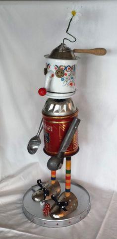 Red Velvet the Clown - Found object assemblage robot