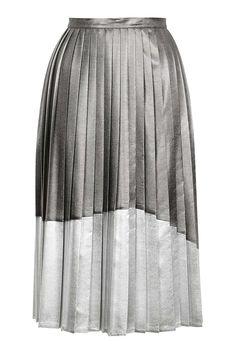Asymmetric Pleat Midi Skirt