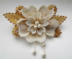 Брошь Золотой цветок | biser.info - всё о бисере и бисерном творчестве