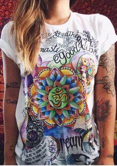 Multicolor Printed Short Sleeve Fashion T-Shirt