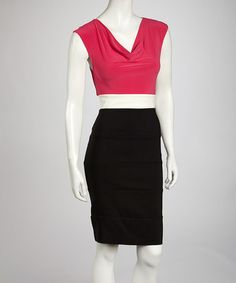 Take a look at this Fuchsia & Ivory Color Block Drape Dress by AA Studio on #zulily today! $21.49, regular 49.00