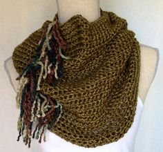Crochet Drifter Cowl Neck Warmer Scarf  Green with by KnotSewKrazy, $45.00