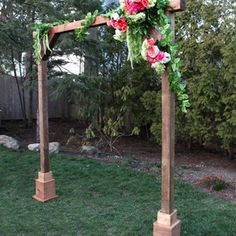 Make it a DIY wedding with a self standing wood arch. A tutorial to create a wood arch perfect for a wedding ceremony area, special event and more. Wood Wedding Arches, Wedding Ceremony Arch, Wedding Arbors, Wedding Backdrops, Ceremony Backdrop, Wedding Decorations, Wood Arch, Diy Wedding Projects, Wedding Ideas