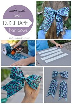 Create these fun duct tape hair bows with this easy to follow step by step tutorial