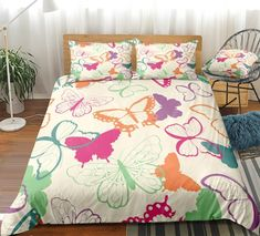 Colorful Butterfly Bedding Set Butterfly Bedding Set, Bed In A Bag, Cotton Duvet, Gifts For Teens, Clean Design, Beautiful Patterns, Duvet Cover Sets, Bedding Sets, Pillow Cases