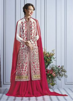 Absorbing Hot Pink and Off White Lace Faux Georgette Indian Lehenga Kameez