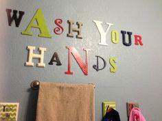 Cute idea for kids bathroom!  Wash Your Hands Sign  Bathroom Decor by OwlMakeItAsYouWish on Etsy, $40.00
