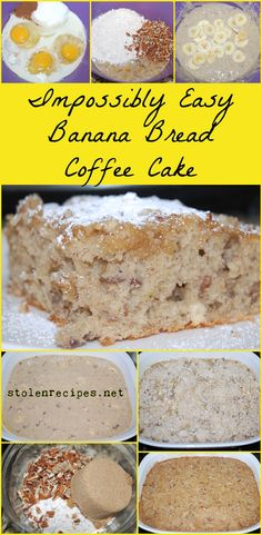 Impossibly Easy Banana Bread Coffee Cake recipe gets some help from Bisquick mix and mashed bananas. The finished coffee tastes like banana bread! Banana Bread No Eggs, Bisquick Banana Bread, Easy Banana Bread, Bisquick Coffee Cake Recipe, Bisquick Recipes, Banana Coffee Cakes, Banana Pie, Dessert Bread, Dessert Recipes