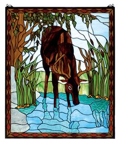 Deer Stained Glass Window