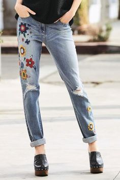 Mid Blue Embroidered Flower Jeans