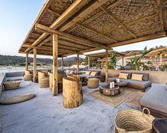Outdoor Seating, Outdoor Rooms, Outdoor Living, Bamboo Architecture, Bamboo House, Beach Cafe, Outdoor Restaurant, Beach Bungalows, Belle Villa