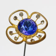 Antique Hat Pin: Large Flower Faceted Sapphire Glass and Rhinestones