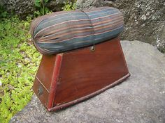 Japanese Antique Wooden Pillow with Original Organic Buckwheat and String