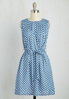 Boast to Coast Dress. Flaunt your style across the country as you travel in this polka-dotted dress! #blue #modcloth