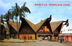 1962 Seattle Worlds Fair Postcard Hawaiian Pavilion w Dole Pineapple Sign Vintage Postcards, Vintage Photos, Seattle Architecture, Tiki Hawaii, Dole Pineapple, Seattle Photos, Retro Photography, Family Memories, Childhood Memories