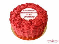 Czerwony tort z różami, tort dla babci, urodzinowy tort
