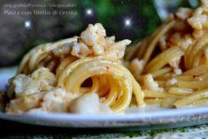 Pasta con filetto di cernia primopiatto di pesce ottimo anche per le feste di Natale!! Facile e veloce da fare anche all'ultimo momento.  QUI la Ricetta http://blog.giallozafferano.it/dolcipocodolci/pasta-con-filetto-di-cernia/