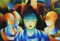 Lord Buddha with His Disciples (Reprint On Card Paper - Unframed))
