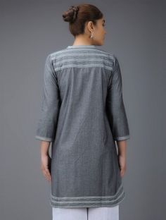 Grey Embroidered Mandarin Collar Cotton Kurta