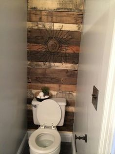 Pallet Projects   Bathrooms   Pinterest   Pallet wood  Pallets and     Pallet wood accent wall in master bath