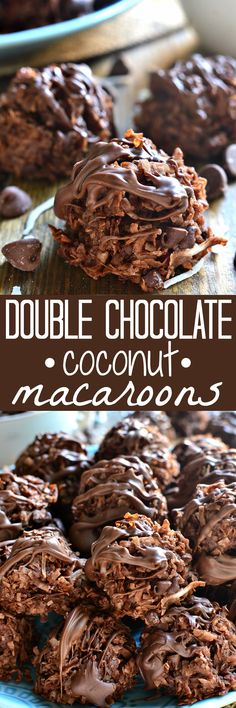 These Double Chocolate Coconut Macaroons are loaded with rich chocolatey flavor . These Double Chocolate Coconut Macaroons are loaded with rich chocolatey flavor – the perfect twist on a classic! Coconut Recipes, Baking Recipes, Cookie Recipes, Dessert Recipes, Coconut Desserts, Frosting Recipes, Chocolate Coconut Macaroons, Chocolate Desserts, Chocolate Smoothies