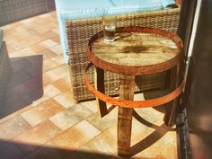 Whisky Barrel Side Table