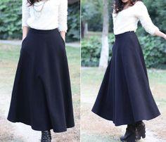 Elegant Maxi Skirt Wool Skirt Winter Wool Dress by dresstore2000, $48.99