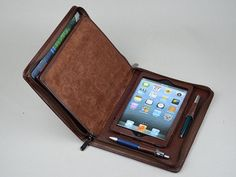 Apple iPad mini Leather Business Portfolio Case with Notepad and with iPhone 5 Pockets for iPad mini Carrying for conference Junior Paper on Etsy, $115.00