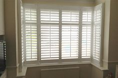 Full height shutters cover the full height of the window, this is our most popular and flexible installation styles offered by plantation shutters. Bay Window Shutters, White Shutters, Window Coverings, Window Treatments, Bay Window Living Room, 1930s House, Front Rooms, Window Dressings, Fashion Room