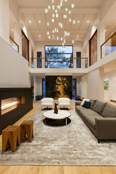 A two-storey living room