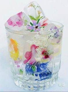 Pretty Ice  Tool kits for more interesting drinks - edible flower ice-cubes.
