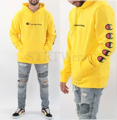 855b5202 Champion hoodie yellow C logo pullover hoodie for men women LIMITED EDITION  #Champion #Hoodie