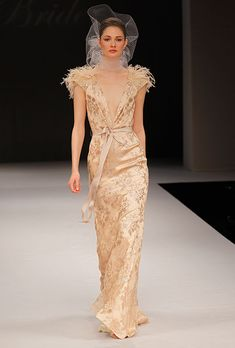 The best vintage inspired bridal gowns of 2012 Collections from NYC Bridal Fashion Week Wedding Dress With Feathers, Gold Wedding Gowns, Wedding Dresses Photos, Wedding Dress Trends, Fall Wedding Dresses, Wedding Dress Styles, Designer Wedding Dresses, Bridal Gowns, Wedding Ideas
