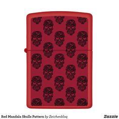 Red Mandala Skulls Pattern Zippo Lighter