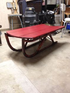 Vintage Sleigh Repurposed To My New Coffee Table. Forgot To Take The  Before. Added