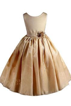 AMJ Dresses Inc Big Girls' Gold Flower Pageant Dress Sz Perfect for Flower Girl Dress, Communion Dress, Pageant Dress, Easter Dress, and Other Special Occasions. Tea length above the ankle). Made In USA. Girls Gold Dress, Gold Flower Girl Dresses, Little Girl Dresses, Flower Girls, Organza Dress, Ruched Dress, Lace Bodice, Girls Pageant Dresses, Prom Dresses