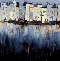 Abends in der Stadt, abstrakte Malerei Evening in the city, abstract painting - Conny Niehoff painti Contemporary Abstract Art, Modern Art, Landscape Paintings, Watercolor Paintings, Painting Abstract, Abstract City, Art Paintings, Painting Art, Inspiration Art