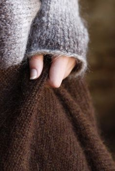 I can imagine a soft, large sweater and a soft, brown skirt. maybe some long and knitted socks to go with it? Wooly Bully, Textiles, Angora, Brown Dress, Winter Looks, Mode Inspiration, Warm And Cozy, Stay Warm, Brown And Grey