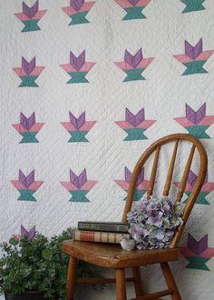 """Spring Pastels! Vintage 30s Cakestand or Basket QUILT 87x57"""""""