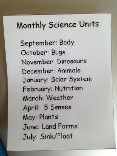 Setting up a science center...pick themes to cover throughout the year.