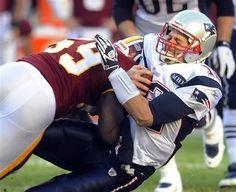 Redskins London Fletcher sacks Patriots Tom Brady!  #HTTR!!!
