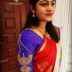 Jewellery on maggam Wedding Saree Blouse Designs, Pattu Saree Blouse Designs, Zardosi Work Blouse, Maggam Work Designs, Stylish Blouse Design, Designer Blouse Patterns, Blouse Models, Maggam Works, Sketch