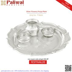 #Silver #Flowery #Pooja #Plate : SA090: #Silver #religious #article (55 grams - S700 purity) . #Price : ₹ 5626 #Shop #online from: http://bit.ly/2gS3GC7